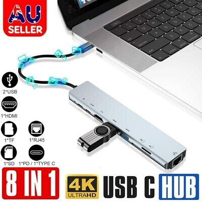 AU32.59 • Buy 8in1 USB-C 3.1 To Type-C USB 3.0 HUB HDMI RJ45 Ethernet Micro SD TF OTG Adapter