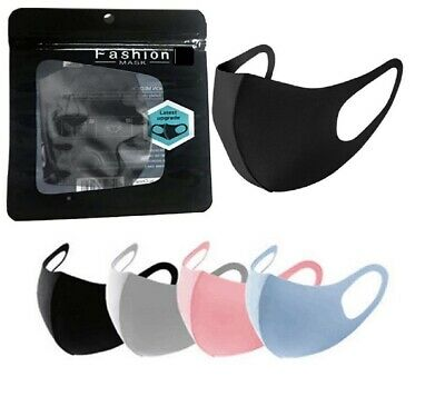 £3.49 • Buy  Pack 5 Unisex Face Mask Black Reusable Washable Breathable Dust Mouth Cover UK