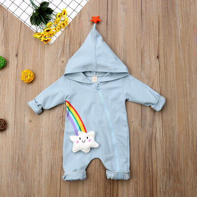 Newborn Baby Girl Boy Rainbow Romper Hoodie Tops Jumpsuit Outfits Clothes 0-18M • 9.89£