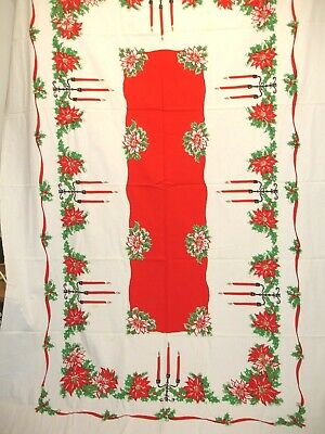 $ CDN32 • Buy X-8 Vintage Tablecloth, Holiday, Christmas, Candles And Poinsettias, 58 X 98 In.