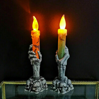 Halloween Skeleton Hand Led Lamp Candle Flame Light Stand Lamp Party Decoration • 5.70£