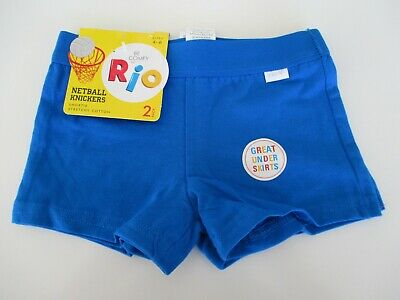 £5.35 • Buy RIO Girls 2 Pack Netball Knickers Shortie Shorts Sizes 4 6 10 12 14 16 Blue