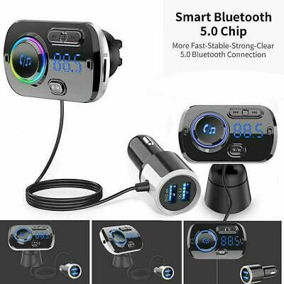 Wireless Bluetooth Car FM Transmitter Kit 2 USB Charger MP3 Player AUX Handsfree • 12.69£