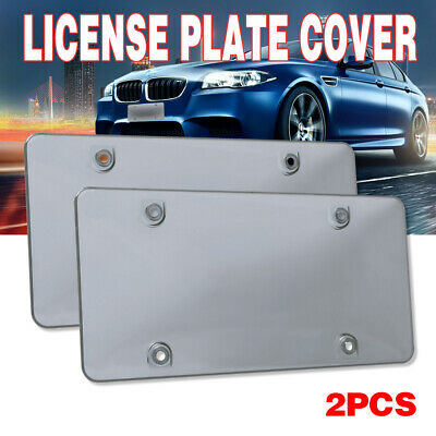 $10.99 • Buy 2x Smoked Flat License Plate Tag Frame Cover Shield Car Truck Plastic Protector
