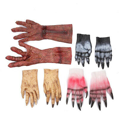 Halloween Makeup Party Horror Zombie Blood Gloves Cosplay Devil Gloves Props Uk • 11.30£