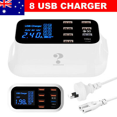 AU33.95 • Buy 8 Port Quick Charge 3.0 Multi USB Charging Station Desktop Phone USB Charger HUB