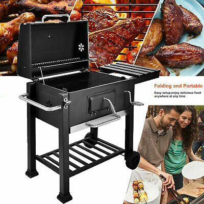 BBQ Barbecue Charcoal Grill W/ Wheels Smoker Portable Party Outdoor Patio Garden • 119.90£