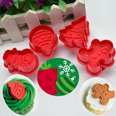 £5.99 • Buy Christmas Cookie Cutter Stamp Biscuit Mould Fondant Snowman Tree Bauble 4pcs