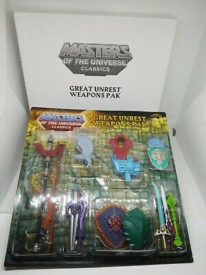 $50 • Buy MOTUC MASTERS OF THE UNIVERSE CLASSICS HE-MAN GREAT UNREST Weapons Pack W8923