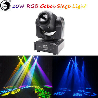 U`king 30W RGBW LED Stage Light Moving Head Gobo Pattern DMX DJ Disco Club Pin • 49.99£