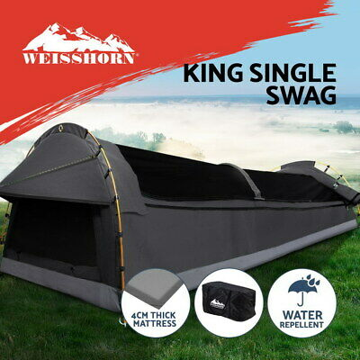 AU209.95 • Buy Weisshorn Camping Swag King Single Swag Canvas Tent Deluxe Dark Grey Large