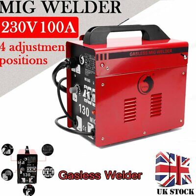 Portable Gasless MIG Welder 130 Amp Auto Flux Wire Feed Welding Machine 240V Kit • 124.75£