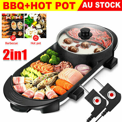AU49.95 • Buy Electric 2 In 1 Hotpot BBQ Oven Smokeless Barbecue Pan Grill Hot Pot Machine AU