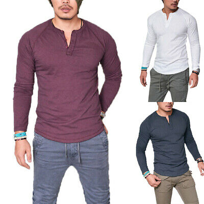 Mens Plain Muscle T Shirts Long Sleeve Casual Blouse Button Tunic Tops Pullover • 9.49£