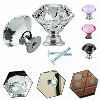 4/8/10 Pack Crystal Door Knobs Handles Diamond Glass Cupboard Drawer Furniture • 6.80£