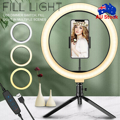 AU22.79 • Buy 10  Dimmable LED Ring Light Make Up Video Lamp Lighting With Tripod Stand Selfie