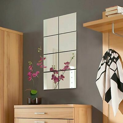 8pc Mirror Tile Wall Sticker Square Self Adhesive Room Decor Stick On Art 20CM • 4.99£