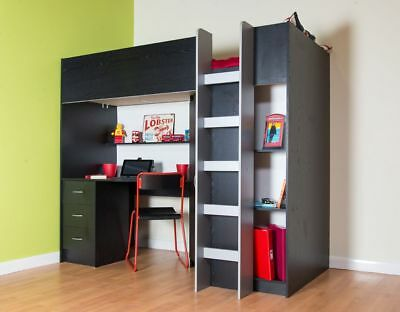 Calder Cabin Bed High Sleeper Wardrobe With Desk Drawers Black Ash R2270BLKASH • 439.99£