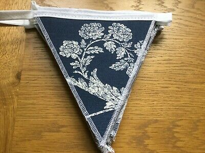 Laura Ashley Josette Midnight Blue Handmade Bunting 10 Double Sided Flags • 19.95£