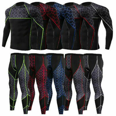 £13.22 • Buy Mens Compression Thermal Base Layer Long Shirt Tops Pants Training Workout Gym