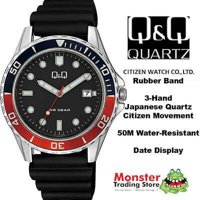 $ CDN57.83 • Buy Qq Citizen Made A172j352 50 Metres Water Resist Gents Divers Style With Date