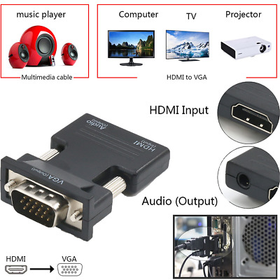 £4.12 • Buy 1080P HDMI Female To VGA Male With Audio Output Cable Converter Adapter Lead UK