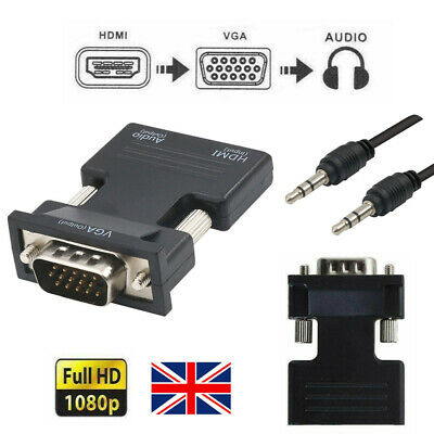 1080P HDMI Hdmi Female To VGA Male With Audio Output Cable Converter Adapter UK • 3.99£
