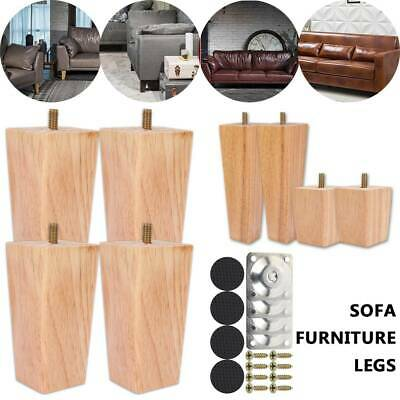 AU32.64 • Buy 4x Wooden Furniture Legs Tapered Scandinavian Modern Retro Couch Sofa Cabinet AU