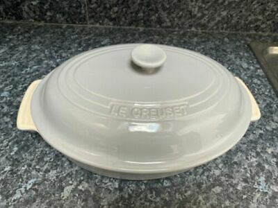 LE Creuset Oval Stoneware Casserole Dish With Lid -30cm ( Light Grey ) • 52£