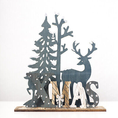 £4.99 • Buy Painted Christmas Wooden Decoration Reindeer Xmas Home Decorations Grey