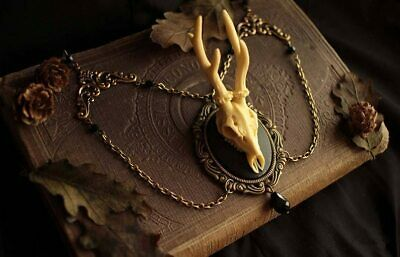 AU6 • Buy Vintage Deer Resin Pendant Necklace For Women - Gift For Witchy Wiccan Jewelry