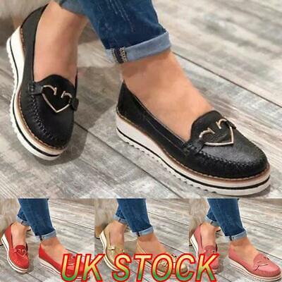Womens Wedge Flatform Loafers Ladies Slip On Comfy Casual Work Pumps Shoes Size • 13.89£