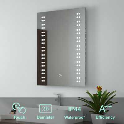 LED Illuminated Bathroom Mirror Lights Demister Pad Touch Control Wall Mounted • 61.99£