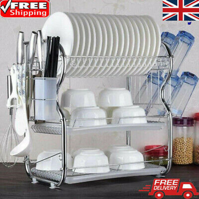 3 Tier Kitchen Dish Drainer Cutlery Cup Plates Holder Sink Rack Drip Tray UK • 17.99£