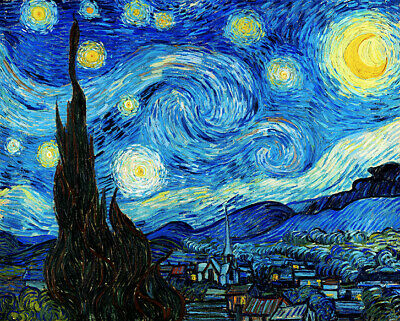The Starry Night Vincent Van Gogh Famous Wall Art Poster Print *GREAT GIFT* • 6.99£