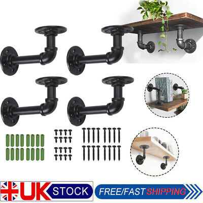 2/4Pcs Pipe Shelf Brackets Industrial Iron Rustic Wall Floating Shelves Supports • 19.45£