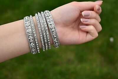 £8 • Buy Artificial Indian High Quality 6 Piece Set Stone Bangles