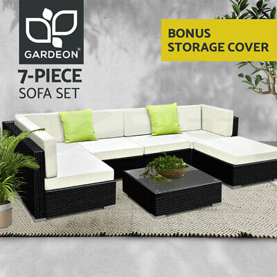 AU885.95 • Buy Gardeon Outdoor Lounge Setting 7pc Wicker Sofa Set Furniture Rattan Patio Garden