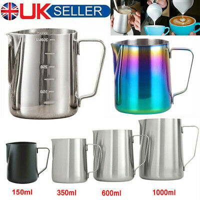 £7.69 • Buy UK Milk Frothing Jug Frother Metal Pitcher Stainles Steel Coffee Latte Container