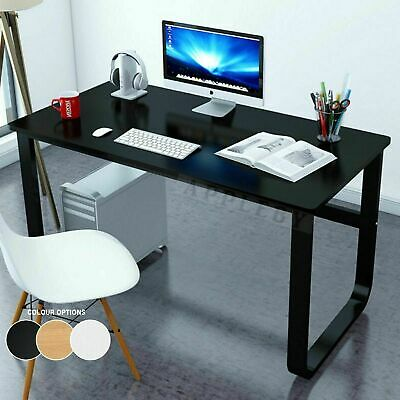 AU137.95 • Buy New Large Office Table Thick Wood & Metal Home Study Computer Desktop Desk