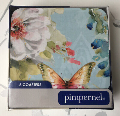 Pimpernel Colorful Breeze Pack Of 6 Floral & Butterfly Coasters Portmeirion NEW • 12.99£