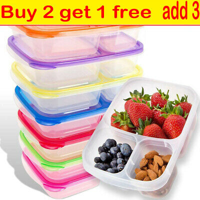 5PC Plastic Lunch Box Food Container Set Bento Lunch Boxes With 3-Compartment MN • 7.57£