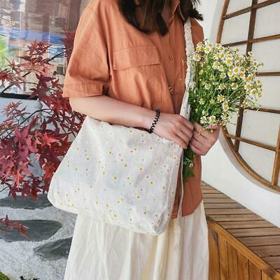 Women Girls  Daisy Embroidery Canvas Shoulder Bag Ladies Shopping Tote Purse • 6.96£