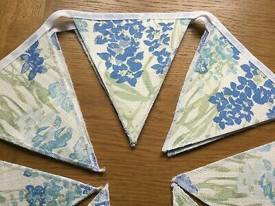 Wild Meadow Bluebell Laura Ashley Fabric Handmade Bunting 10 Double Sided Flags • 19.95£
