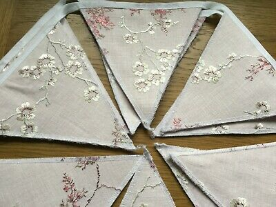 Laura Ashley Oriental Blossom Embroidered Blush Pink Handmade Bunting 10 Flags • 19.95£