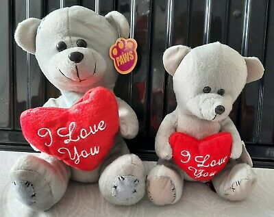 I Love You  Grey Teddy Bears By Paws, Medium Or Small Available • 3.99£