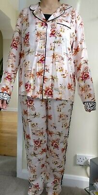 M&S Ladies Tropical Print Pyjama In Pinkish PJ Set Nightie Loungewear Size 6-22 • 12.95£