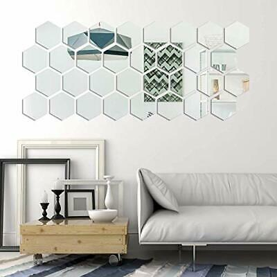 36P Acrylic 3D Mirror Effect Tile Wall Sticker Room Decor Stick On Art Bathroom • 3.49£