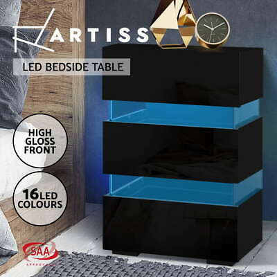 AU129.95 • Buy Artiss Bedside Tables Side Table RGB LED Lamp 3 Drawers Nightstand Gloss Black