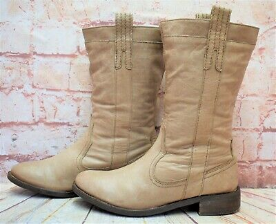 Womens Red Herring Brown Leather Pull On Low Heel Ankle Boots Size UK 5 EUR 38 • 13.49£